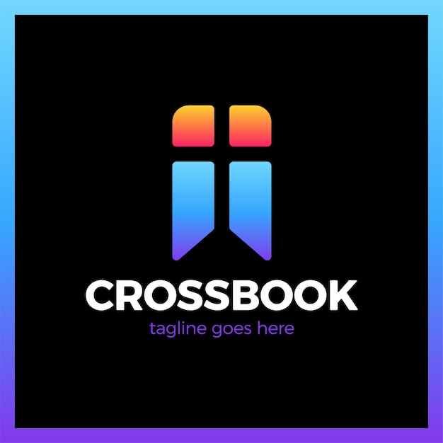 Cross bookmark iglesia logotipo Vector Premium