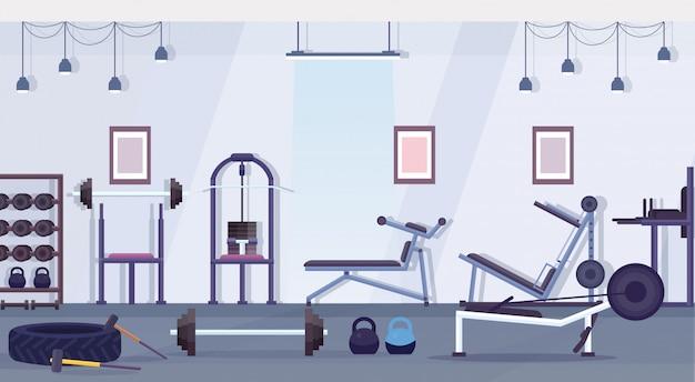 Crossfit health club studio con equipo de entrenamiento concepto de estilo de vida saludable vacío ninguna gente gimnasio interior aparato de entrenamiento horizontal Vector Premium