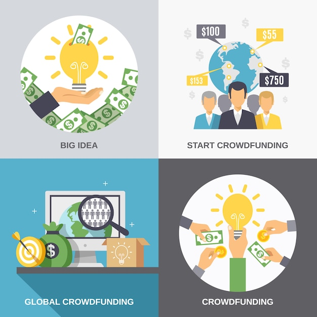 Crowdfunding 2x2 design concept vector gratuito