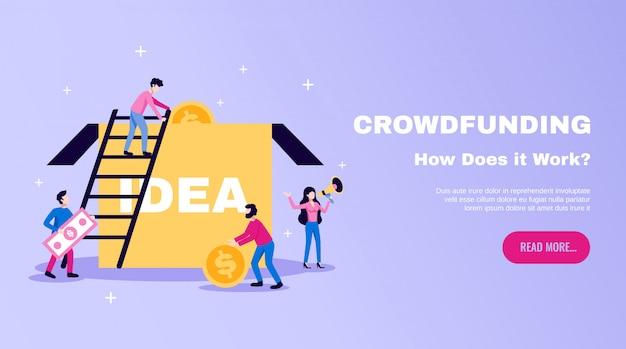 Crowdfunding dinero recaudando lo esencial banner de sitio web plano horizontal con cuadro de ideas y lea más ilustración de botón vector gratuito