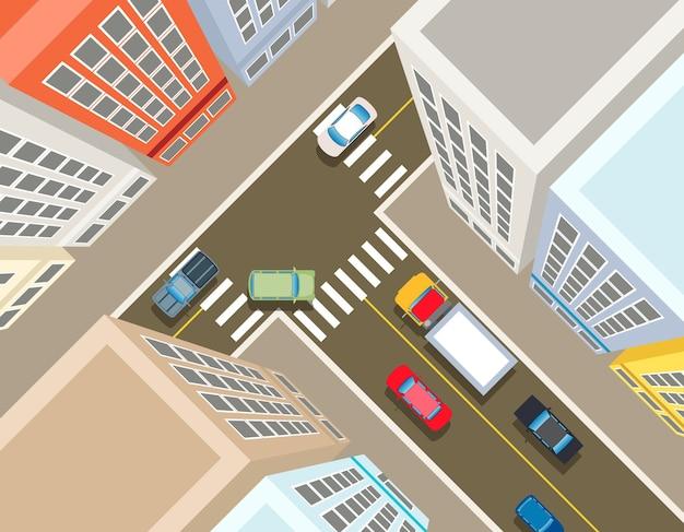 Cruce de caminos en la ciudad, vista superior. coche de transporte, urbano y asfalto, tráfico y construcción de ilustración. vector gratuito