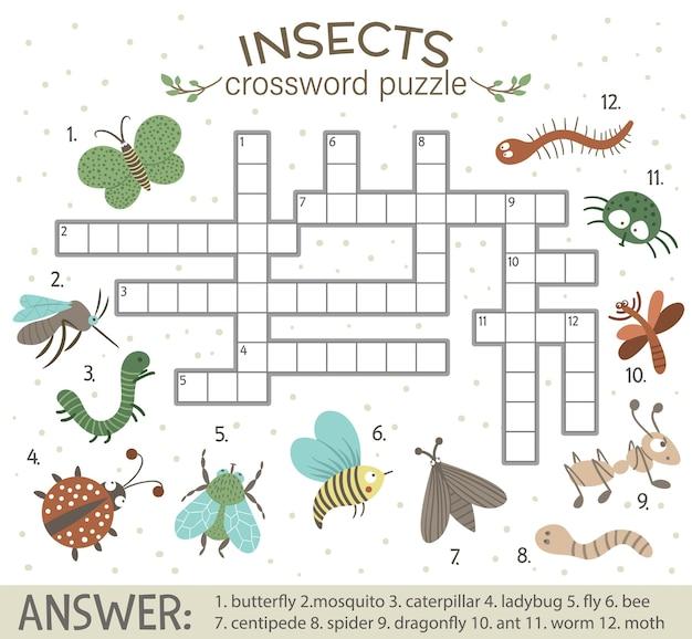 Crucigrama con insectos del bosque. Vector Premium