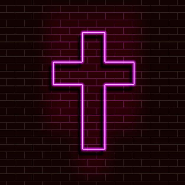 Cruz cristiana púrpura de neón en una pared de ladrillo. elemento retro realista decorativo para diseño web. Vector Premium