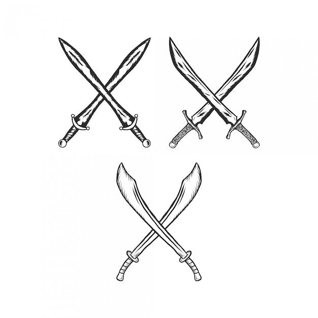 Cruz espada grabado ilustración vintage Vector Premium