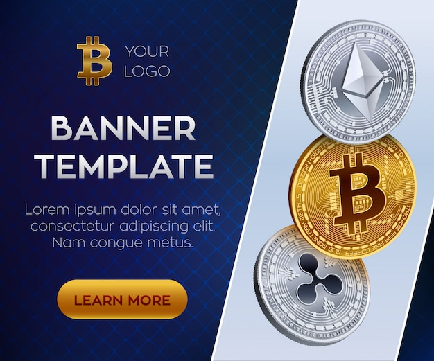Crypto moneda plantilla de banner editable. bitcoin, ethereum, ripple. monedas físicas isométricas en 3d. moneda bitcoin dorada y ethereum plateado y monedas rizado. valores Vector Premium