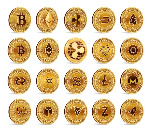 Cryptocurrency 3d conjunto de monedas de oro. bitcoin, ripple, ethereum, litecoin, monero y otros. vector gratuito