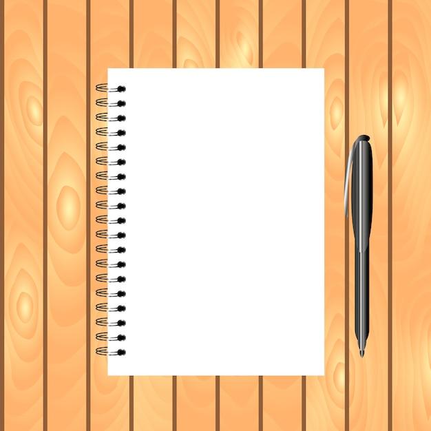 Cuaderno encuadernado en espiral con bolígrafo sobre fondo de madera claro. vector gratuito