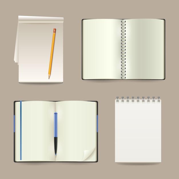 Cuadernos de papel realista abierto blanco en blanco conjunto vector gratuito
