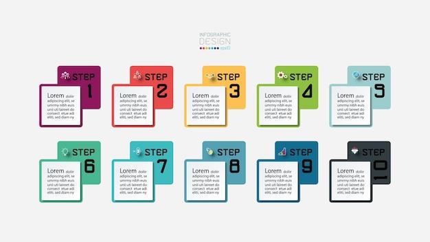 Cuadrado de pasos infográficos de etiqueta para explicar el proceso de trabajo de la educación. Vector Premium