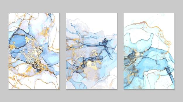 Cuadro abstracto de mármol azul marino y dorado en técnica de tinta de alcohol Vector Premium