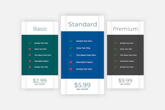 Cuadro de comparación de la tabla de precios para el sitio web y la aplicación vector gratuito