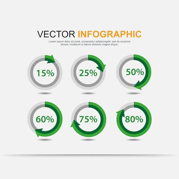 Cuadro de elementos infográficos circulares con indicación de porcentajes. Vector Premium