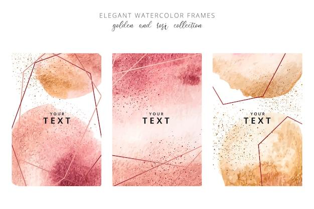 Cuadros acuarelas con salpicaduras de oro y rosado vector gratuito