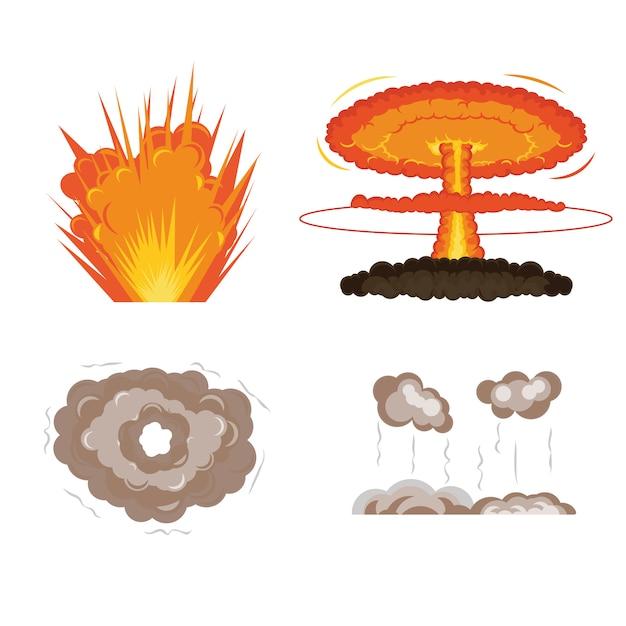 Cuadros de animación de explosión de dibujos animados para el juego. sprite explosión explosión blaster fuego llama cómica Vector Premium