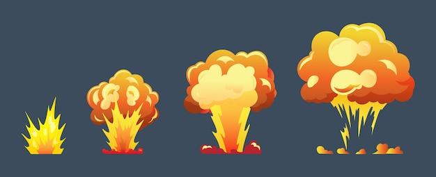 Cuadros de animación de explosión de dibujos animados para juego Vector Premium