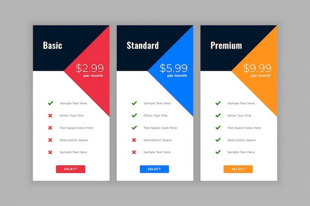 Cuadros de comparación de tablas de precios de estilo geométrico vector gratuito