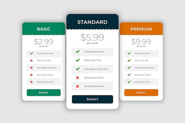 Cuadros de comparación web para planes y precios vector gratuito