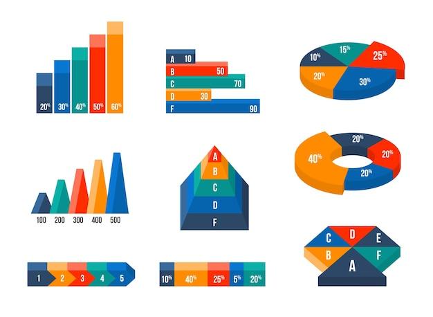 Cuadros, diagramas y gráficos en estilo plano 3d isométrico moderno. presentación infográfica, finanzas de datos de diseño vector gratuito