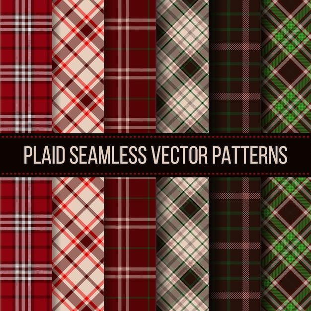 Cuadros de leñador, cuadros de búfalo, conjunto de patrones sin fisuras de guinga. paño textil de moda, tela escocesa, ilustración vectorial vector gratuito