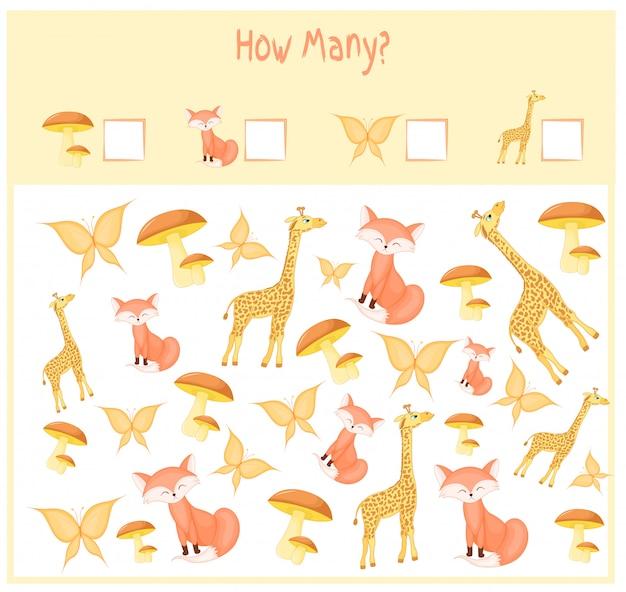 Cuántas planillas con animales. juego educativo para niños. ilustracion vectorial Vector Premium