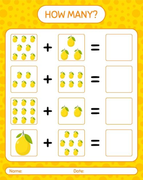 Cuántos juego de contar con limón. hoja de trabajo para niños en edad preescolar, hoja de actividades para niños, hoja de trabajo imprimible Vector Premium