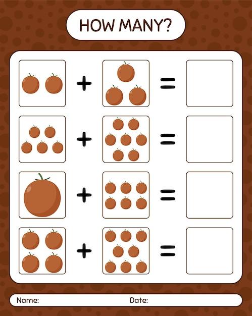 Cuántos juego de contar la manzana de terciopelo. hoja de trabajo para niños en edad preescolar, hoja de actividades para niños, hoja de trabajo imprimible Vector Premium