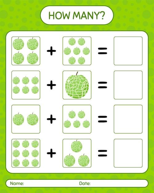 Cuántos juego de contar con melón. hoja de trabajo para niños en edad preescolar, hoja de actividades para niños, hoja de trabajo imprimible Vector Premium