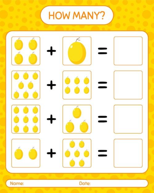 Cuántos juego de contar con melón de miel. hoja de trabajo para niños en edad preescolar, hoja de actividades para niños, hoja de trabajo imprimible Vector Premium