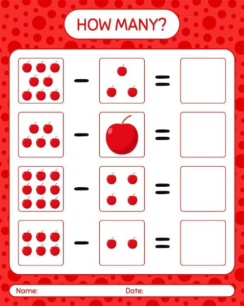 Cuántos juego de conteo de manzana. hoja de trabajo para niños en edad preescolar, hoja de actividades para niños, hoja de trabajo imprimible Vector Premium