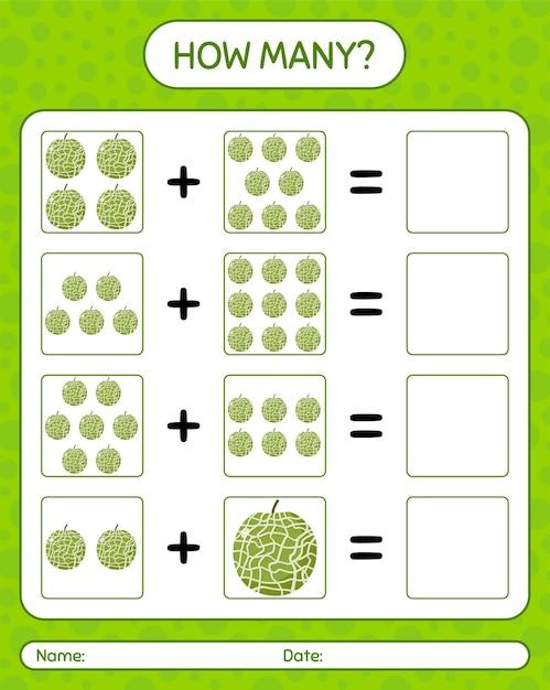 Cuántos juegos de contar con melón. hoja de trabajo para niños en edad preescolar, hoja de actividades para niños, hoja de trabajo imprimible Vector Premium