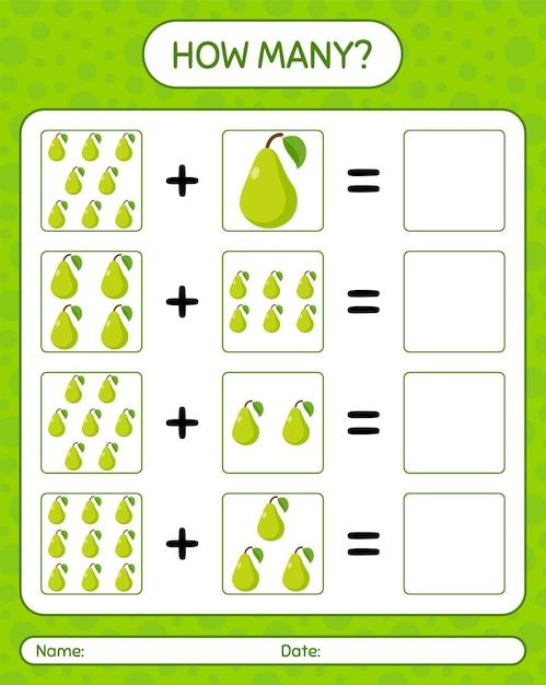 Cuántos juegos de contar con pera. hoja de trabajo para niños en edad preescolar, hoja de actividades para niños, hoja de trabajo imprimible Vector Premium