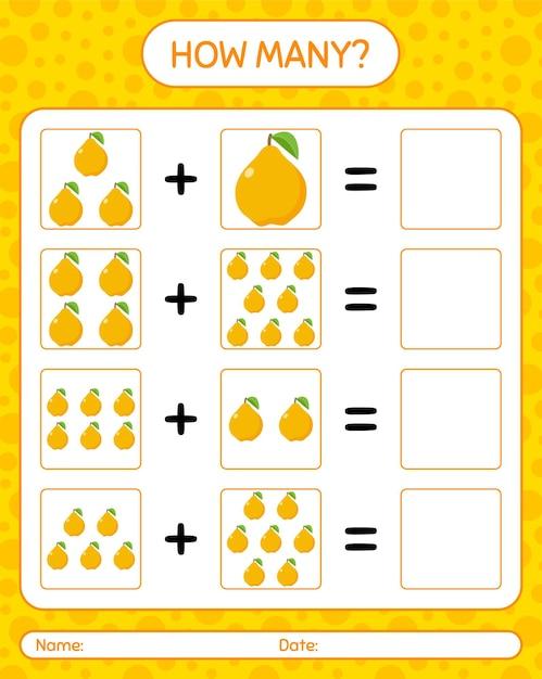 Cuántos juegos de contar con secuencia. hoja de trabajo para niños en edad preescolar, hoja de actividades para niños, hoja de trabajo imprimible Vector Premium
