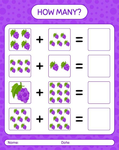 Cuántos juegos de contar con uva. hoja de trabajo para niños en edad preescolar, hoja de actividades para niños, hoja de trabajo imprimible Vector Premium