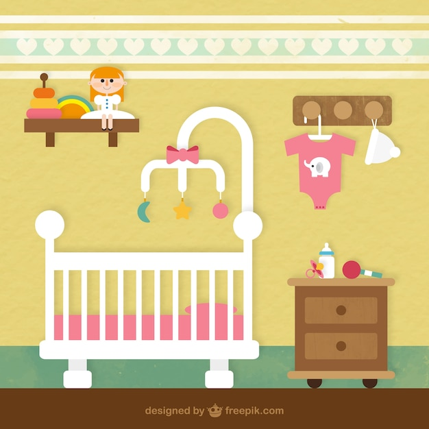 Cuarto del beb descargar vectores gratis - Dibujos para decorar habitacion de bebe ...