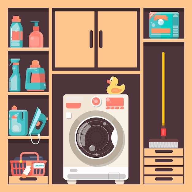 Cuarto de lavado con cesta de la lavadora y productos for Imagen de lavaderos para casas