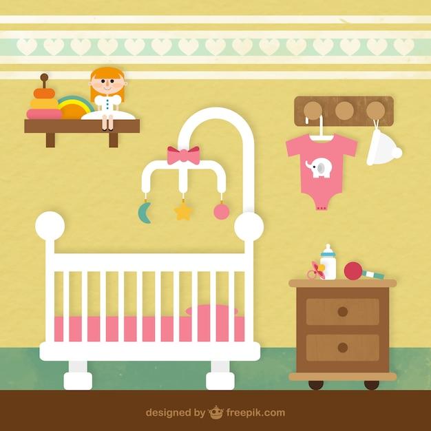 Cuarto del beb descargar vectores gratis - Dibujos habitacion bebe ...