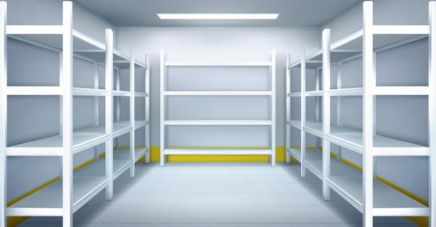 Cuarto frío en almacén con estanterías metálicas vacías vector gratuito