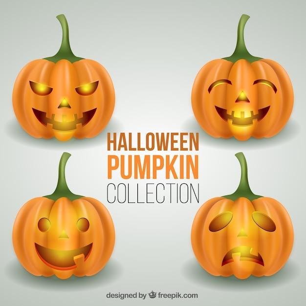 Cuatro calabazas terrorficas para halloween Descargar Vectores gratis