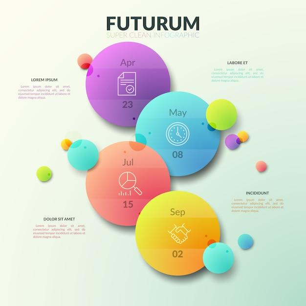 Cuatro círculos multicolores separados con pictogramas de línea delgada e indicación de fecha en el interior. Vector Premium
