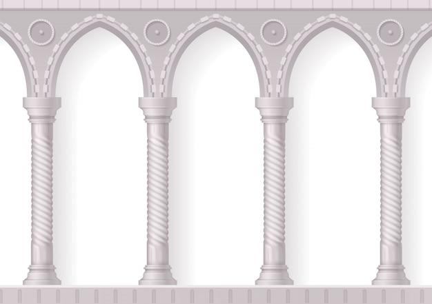 Cuatro columnas blancas antiguas composición realista en 3d con nervaduras en blanco vector gratuito