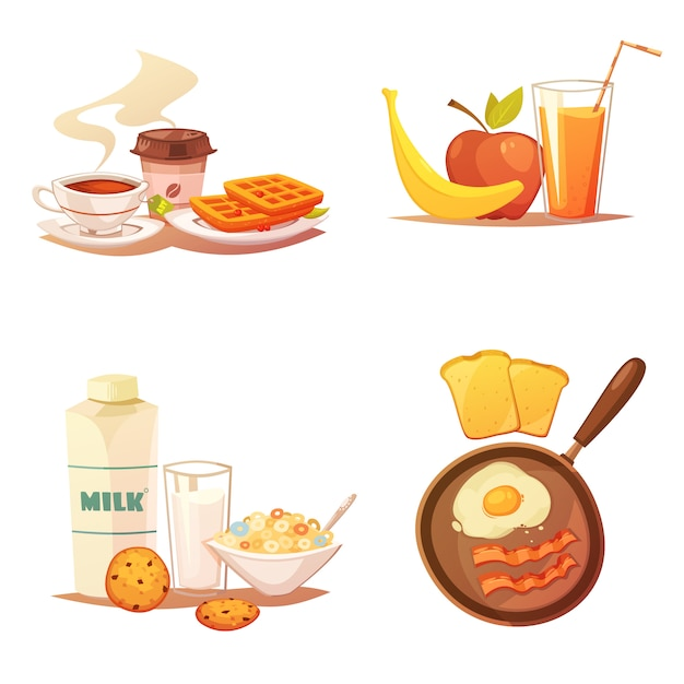 Cuatro composiciones de iconos de colores sobre fondo blanco vector gratuito