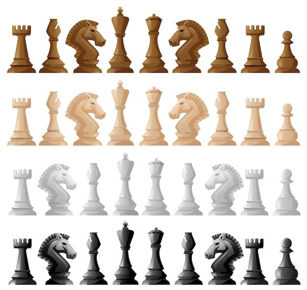 Cuatro conjunto de piezas de ajedrez ilustración vector gratuito