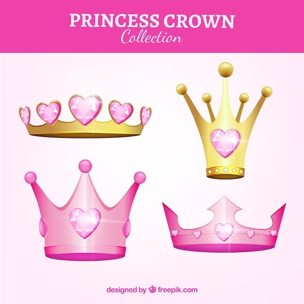 Cuatro Coronas De Princesas De Color Rosa Descargar Vectores Gratis