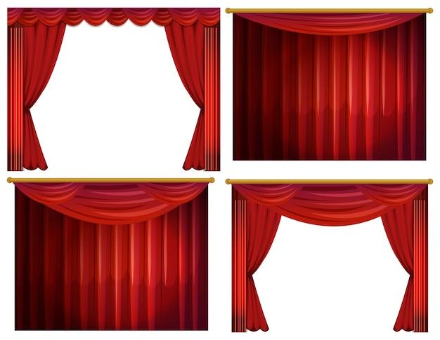 cuatro diseos de cortinas rojas ilustracin