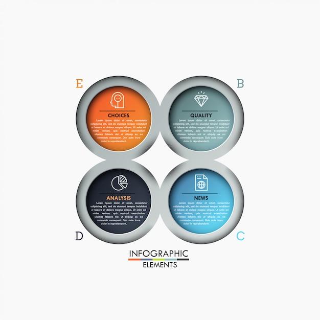 Cuatro elementos circulares multicolores con iconos y cuadros de texto dentro, 4 pasos del concepto de análisis empresarial. Vector Premium