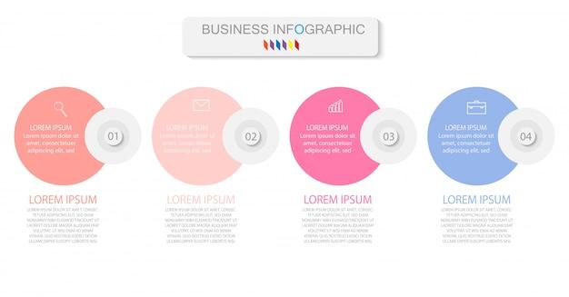 Cuatro elementos coloridos con iconos lineales, opciones o procesos. puede ser utilizado para la línea de tiempo Vector Premium