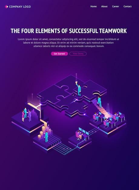 Cuatro elementos de la exitosa página de inicio del trabajo en equipo vector gratuito