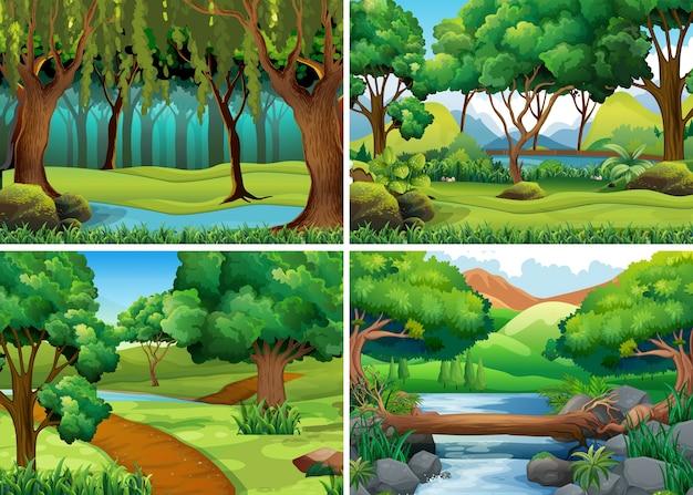 Cuatro escenas de bosque y río vector gratuito