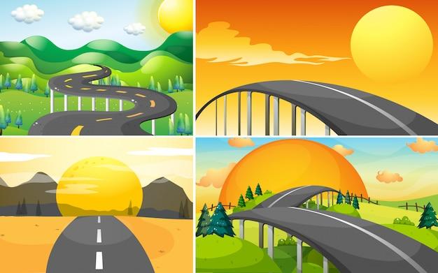 Cuatro escenas de camino al campo vector gratuito