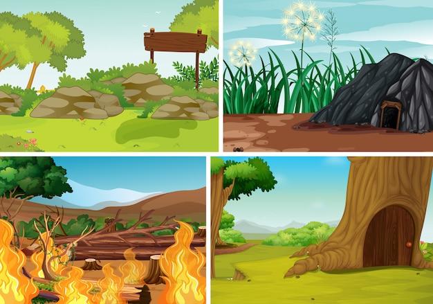 Cuatro escenas de desastres naturales diferentes del estilo de dibujos animados del bosque. vector gratuito